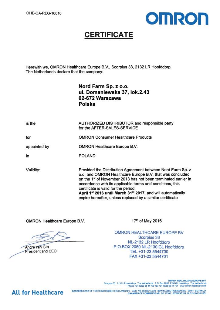 20160518 Distributor Certificate Nord Farm